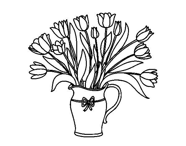 Dibujo de Jarrón de tulipanes para Colorear
