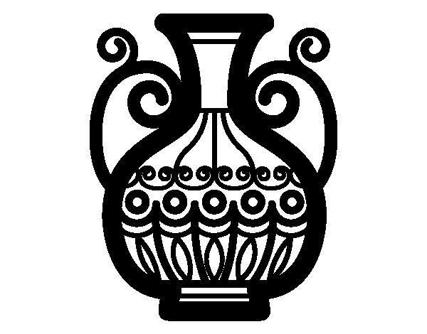 Dibujo de jarr n decorado para colorear for Como pintar jarrones de ceramica