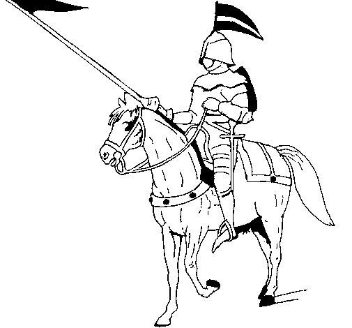 Dibujo de Jinete a caballo para Colorear