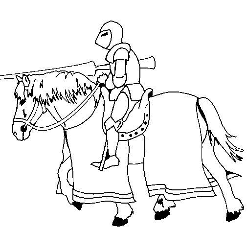 Dibujo de Jinete a luchar para Colorear