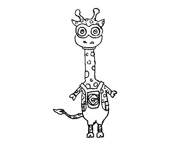 Dibujo de Jirafa Minion para Colorear