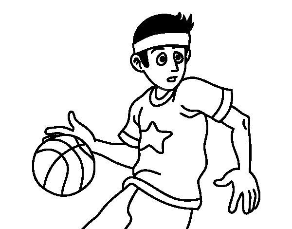 Dibujos Para Colorear Jugador De Hockey: Dibujo De Jugador De Básquet Junior Para Colorear