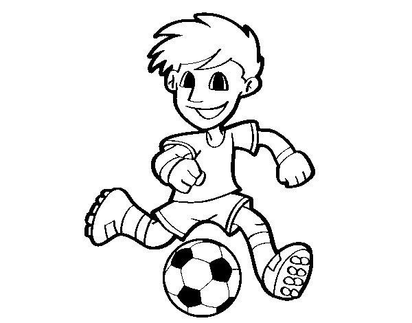 Dibujo de Jugador de fútbol con balón para Colorear