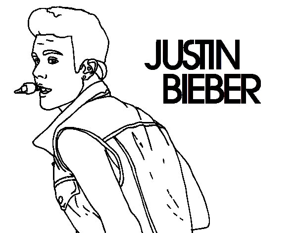 Dibujo de Justin Bieber cantando para Colorear