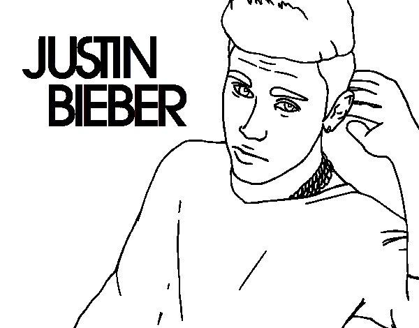 Dibujo de Justin Bieber estrella del POP para Colorear