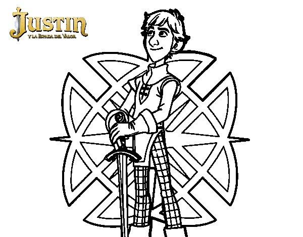 Dibujo de Justin y la espada del valor para Colorear