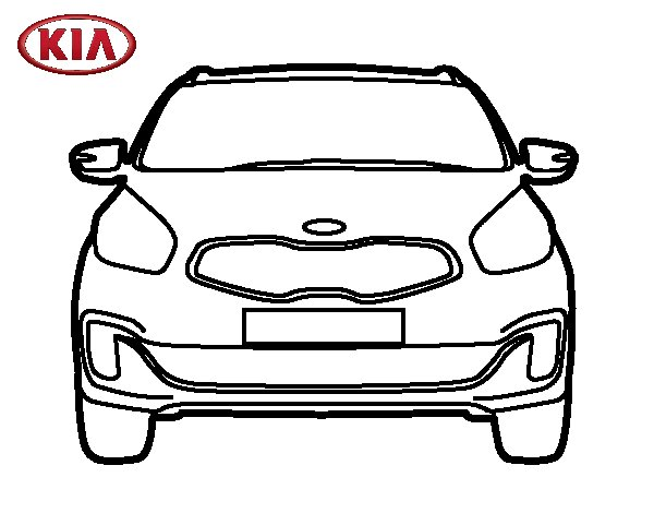 Dibujo de Kia Carens frontal para Colorear