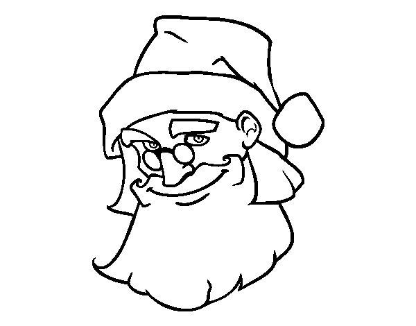 Dibujo de La cara de Papá Noel para Colorear - Dibujos.net