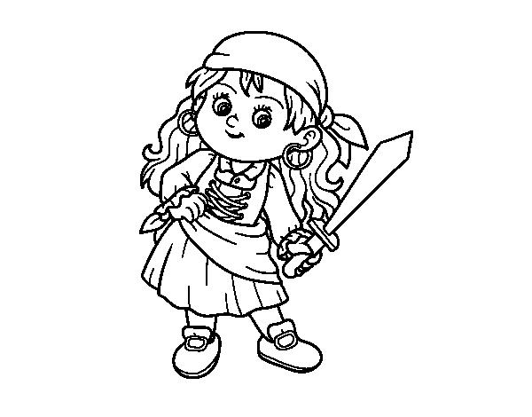 Dibujo de la chica pirata para colorear - Coloriage pirate fille ...