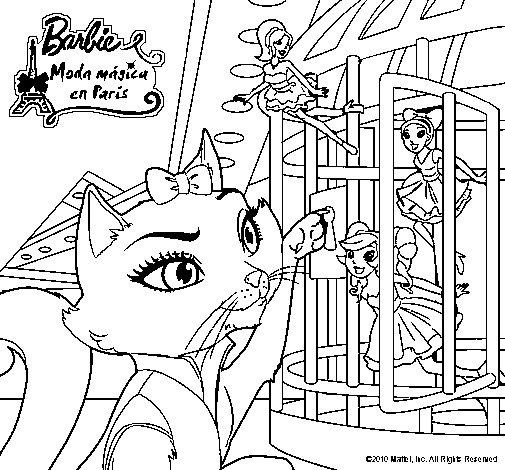 Dibujo de La gata de Barbie descubre a las hadas para Colorear