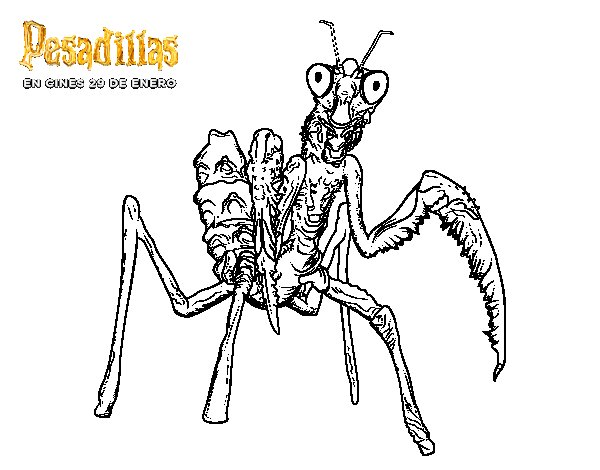 Dibujo de La Mantis Religiosa Gigante para Colorear