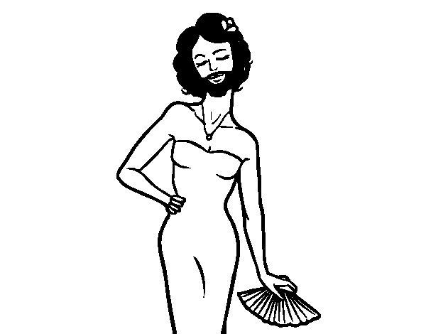 Dibujo de La mujer barbuda para Colorear