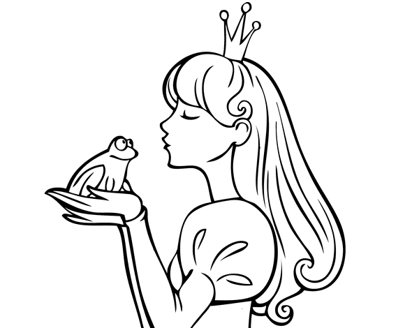 Dibujos De Princesas Para Colorear: Dibujo De La Princesa Y La Rana Para Colorear