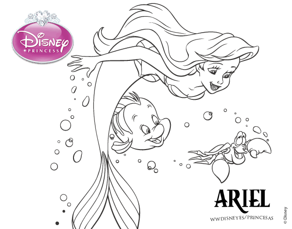 disney princess ariel coloring pages l