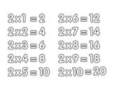 Dibujo de La Tabla de multiplicar del 2 para colorear