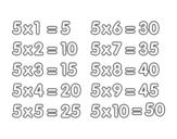 Dibujo de La Tabla de multiplicar del 5 para colorear