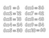 Dibujo de La Tabla de multiplicar del 6 para colorear