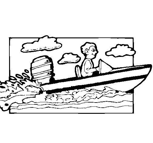 Dibujo de Lancha acuática para Colorear