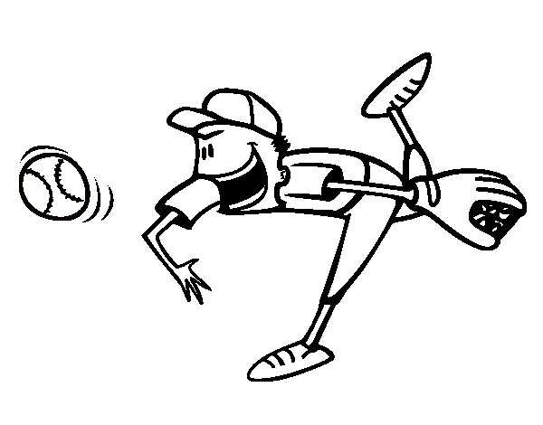 Dibujo de Lanzador de béisbol para Colorear