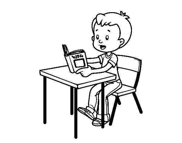 Nino Para Colorear Para Para Un Nino Leyendo Para Colorear: Dibujo De Lecturas De Colegio Para Colorear