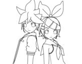 Dibujo de Len y Rin Kagamine Vocaloid para colorear