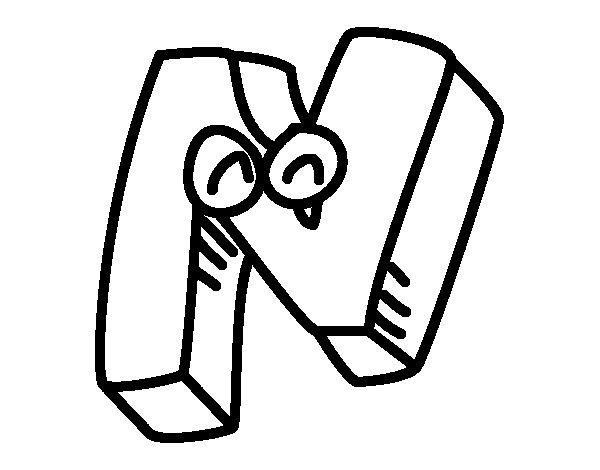 Dibujo de Letra N para Colorear
