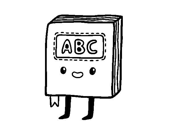Dibujo de Libro de texto kawaii para Colorear