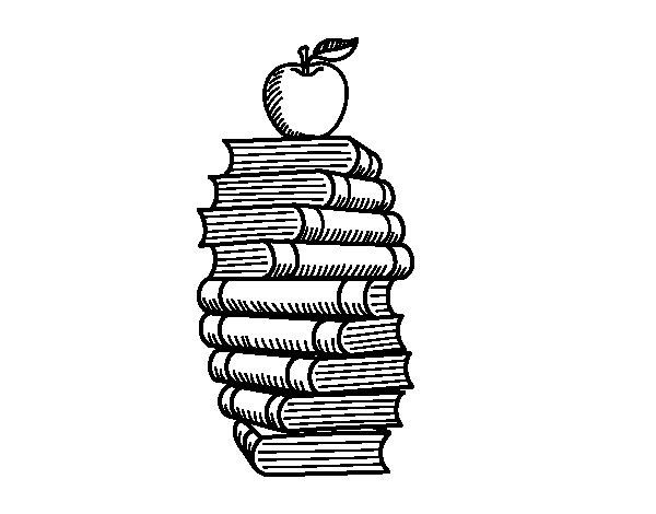 Dibujo de Libros y manzana para Colorear