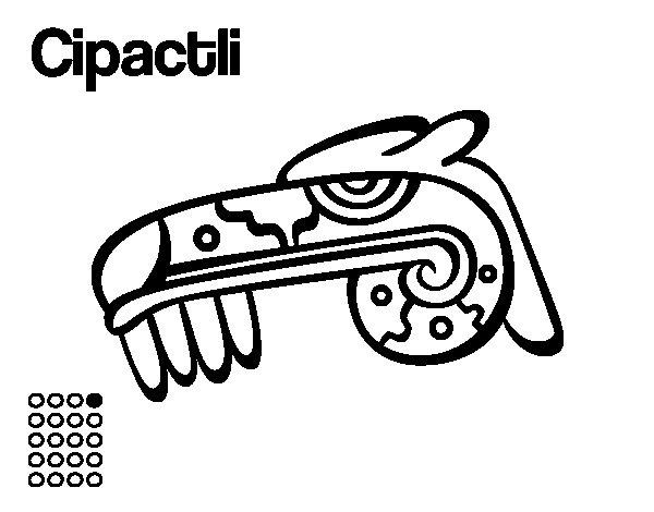 Dibujo de Los días aztecas: el caimán Cipactli para Colorear