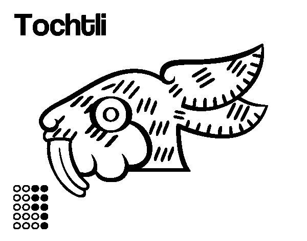 Dibujo de Los días aztecas: el conejo Tochtli para Colorear