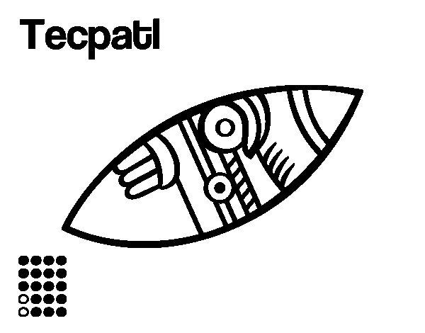 Dibujo de Los días aztecas: el pedernal Técpatl para Colorear