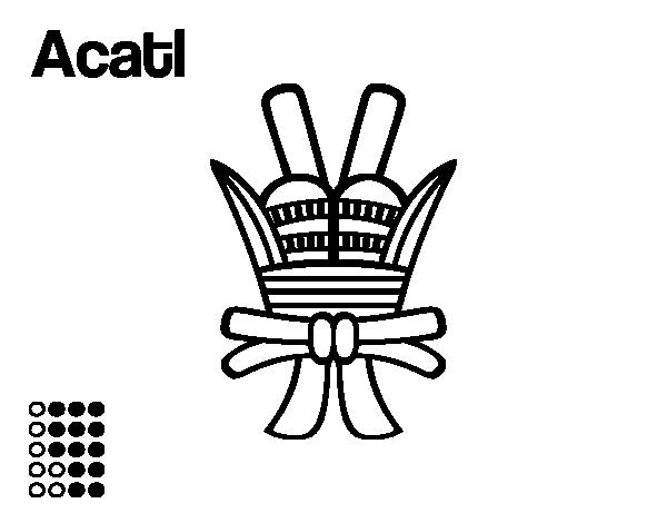 Dibujo De Los Días Aztecas: La Caña Ácatl Para Colorear