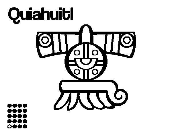 Dibujo de Los días aztecas: la lluvia Quiahuitl para Colorear