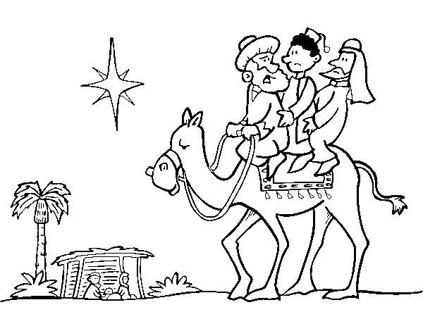 Dibujos De Reyes Magos Coloreados: Dibujo De Los Tres Reyes Magos Para Colorear