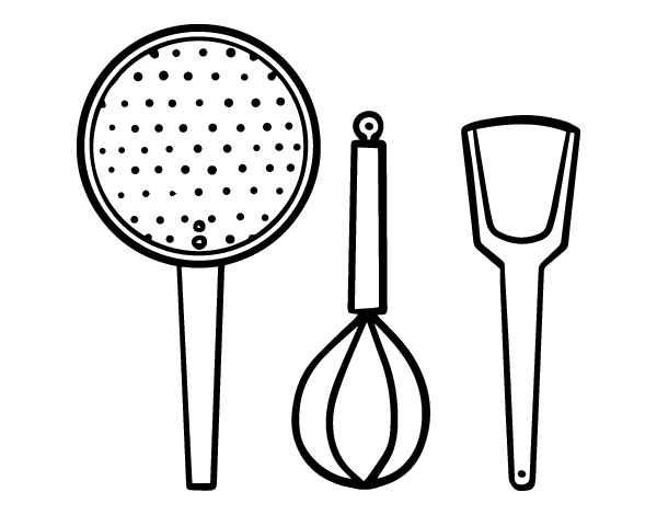 Dibujo de los utensilios de cocina para colorear for Objetos para cocinar