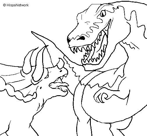 Dibujo de Lucha de dinosaurios para Colorear