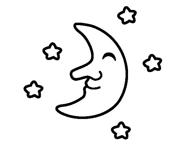 Dibujos De La Luna Para Colorear E Imprimir: Dibujo De Luna Con Estrellas Para Colorear
