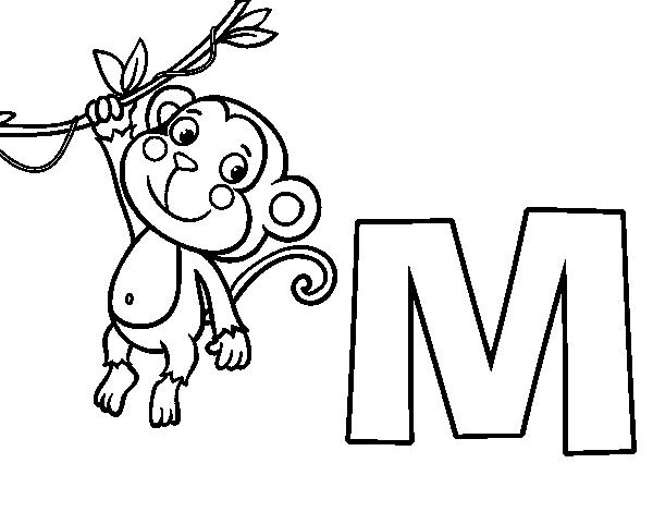 Dibujo de M de Mono para Colorear - 15.9KB