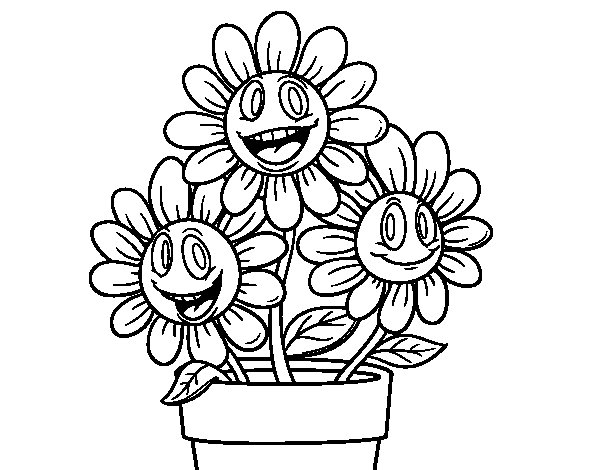 dibujo de maceta de flores para colorear - dibujos