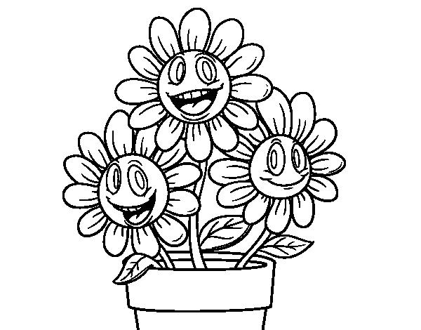 Dibujos Para Colorear De Flora: Dibujo De Maceta De Flores Para Colorear