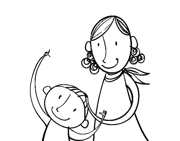 Dibujo de Madre acariciando al hijo para Colorear