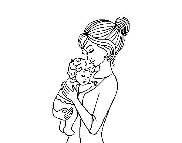 Dibujo de Madre cogiendo al bebé para Colorear