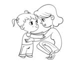 Dibujo de Madre con niña para colorear