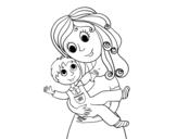 Dibujo de Madre con su hijo para colorear
