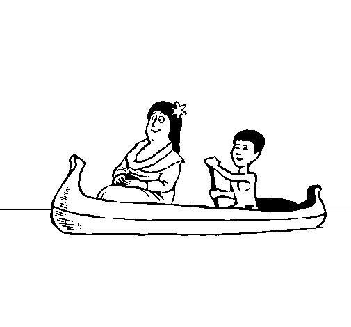 Dibujo de Madre e hijo en canoa para Colorear
