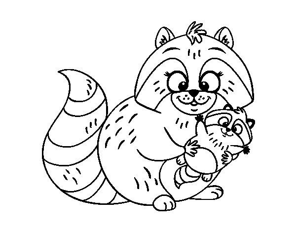 Dibujo de Madre mapache para Colorear