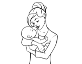 Dibujo de Madre meciendo a su bebé para colorear