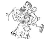 Dibujo de Madre multitareas