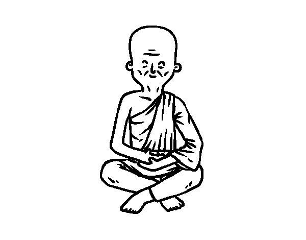 Dibujo de Maestro budista para Colorear
