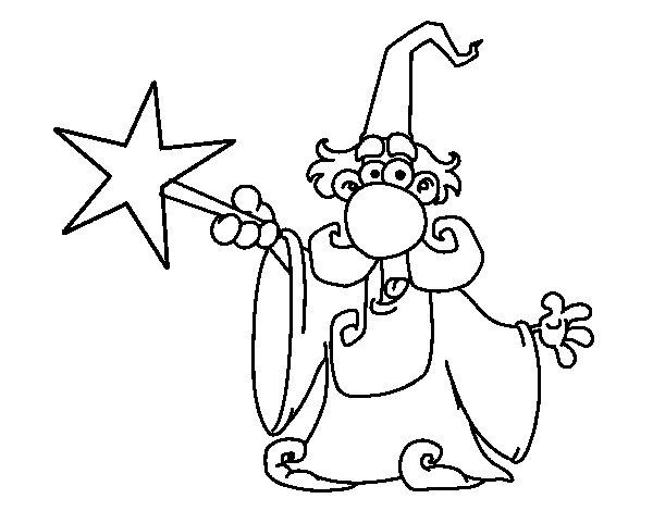 Dibujo de Mago con varita mágica para Colorear